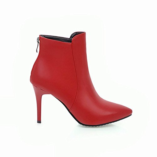 Mee Shoes Women's Chic High Heel Zip Pointed Toe Short Boots Red sbKZkUN7D