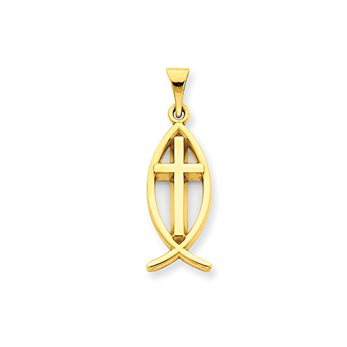14k Yellow Gold Ichthus Fish Pendant Charm Necklace Religious Ichthu Fine Jewelry Gifts For Women For Her