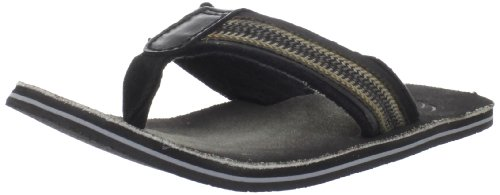 Clarks Mens Thongs - CLARKS Men's Cayo, Black/Green Leather Fabric, 11 M US