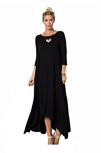 Buy black 3/4 sleeve dress jersey - 1
