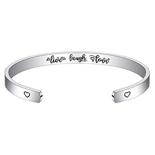 M MOOHAM Birthday Gift for Friends Female - Engraved Bangle Bracelet Jewelry Birthday Gifts for Women, Teen Girls, Friend, Daughter, Sister, Besite, Niece, Cousin, BBF, Her Bday Gift