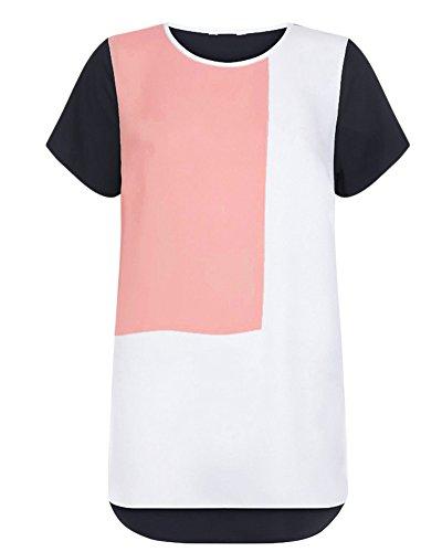 Manche T Taille Shirt Femme Mousseline Courte Couture Chemise Grande Tops Noir Qitun YnXH7t8qx