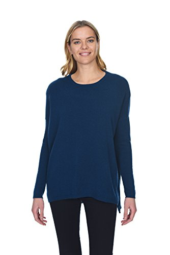State Cashmere Oversized Crewneck Pullover 100% Pure Cashmere Long Sleeve Tunic Sweater for Women (Medium, Ocean)