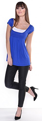 Zeta Ville - Top Camiseta - manga corta - efecto 2 en 1 - para mujer - 960z Azul Real