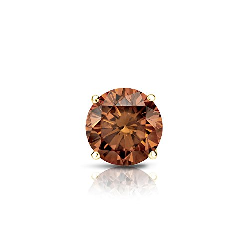 18k Yellow Gold 4-Prong Basket Round Brown Diamond SINGLE STUD Earring (1/2 ct, Brown, SI1-SI2)