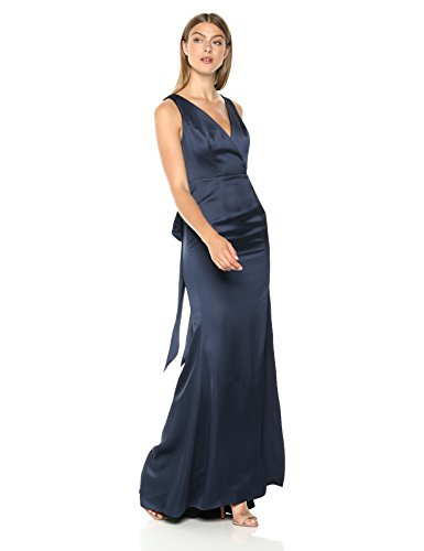 Adrianna Papell Women's Sleevelss Faux WRAP Bodice Light Satin HIGH Slit Dress, Midnight, 16
