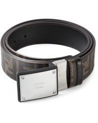 Fendi-Logo-Plaque-Buckle-Belt-Cintura-Placca-Zucca-Havana-Brown-Reversible-New
