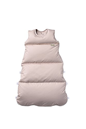 ARO Wickel-Daunenschlafsack 80cm (reduzierbar bis auf 60cm), Farbe: Sand, made in Germany, Aufklappbar zu Wickelunterlage, 2-fach Längenverstellbar mit Reißverschluss-Schützer, Öko-Tex 100 zertifiziert