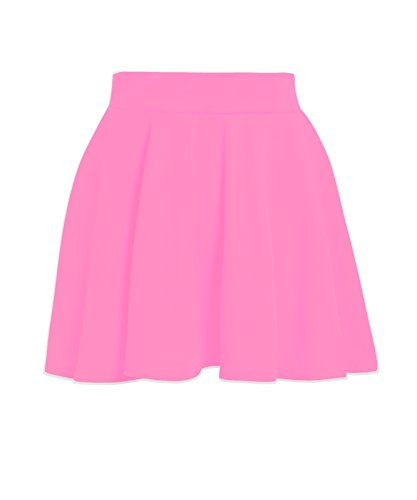 NEW KIDS GIRLS HIGH WAISTED STRETCH PLAIN SHORT FLARED SKATER SKIRT 7-13 YEARS