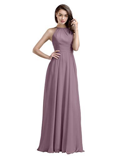 AW Bridal Mauve Mist Bridesmaid Dresses Chiffon Long Prom Dresses Plus Size Formal Dresses,US22