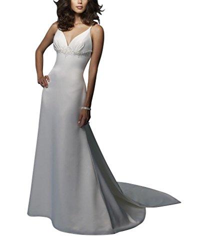 BRIDE Ansatz Satin Weiß Sonder mit Design Zurueck Abend Schatz Spaghetti Kleid GEORGE Buegel aqdnwTSpp