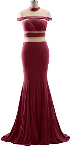 Neck Dress High Jersey Evening Weinrot Prom Cap Formal Sleeves Gown MACloth Mermaid 4gqwEE