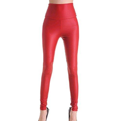 Ecopelle Ghette Bagnate Alta Rosso Signore Vita Donne Alta Sguardo Pantaloni Bassa Normali Hibote Vita Vita 6HPgYWq1wq