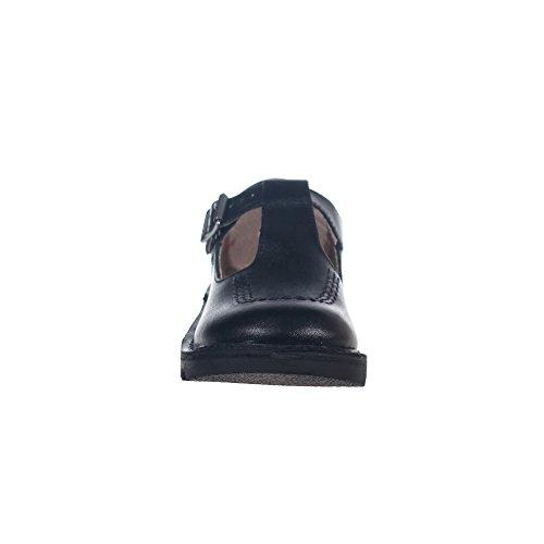 KICKERS Kick Barre En T Cuir Fille Junior Chaussures École Botte Noire