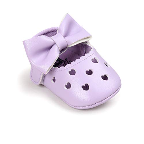 HsdsBebe Baby Girls Shoes Heart Hollow Out Mary Jane Flats Toddler Fisrt Walkers Infant Princess Bow Moccasins Crib Shoes (6-12 Months, A-Purple) (Shoes Baby Purple)