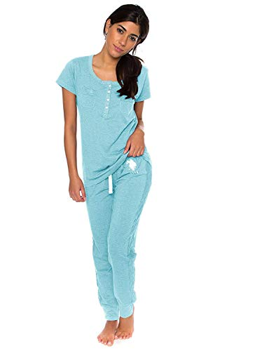 U.S. Polo Assn. Womens Short Sleeve Shirt and Long Pajama Pants Sleepwear Set Mint Heather Large ()