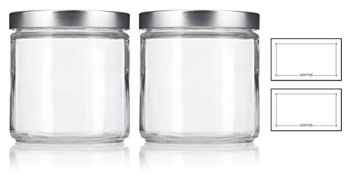 Large Clear Thick Glass Straight Sided Jar with Silver Metal Lid - 16 oz / 480 ml (2 pack) + - Straight Jar