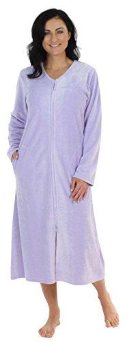 - Sleepyheads Women's Long Sleeve Zip Front Long Robe Housecoat Lilac (SH1446-4055-SML)