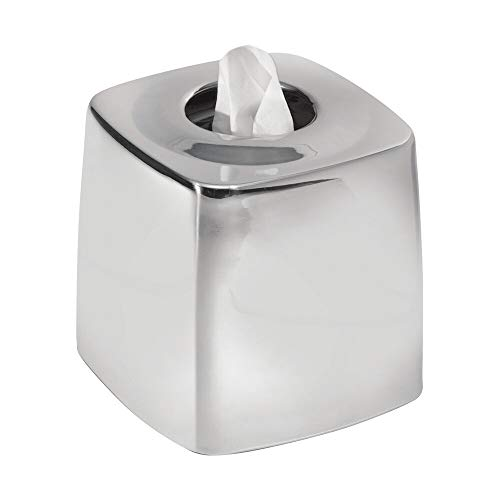 - mDesign Facial Tissue Box Cover/Holder for Bathroom Vanity Countertops - Polished Stainless Steel