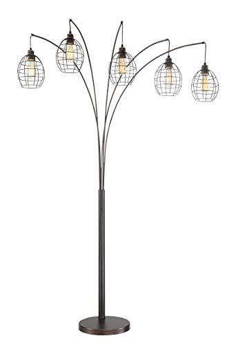 (Lite Source Kaden Copper Bronze Cage 5-Light Arc Floor Lamp)