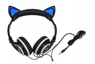 Master- Audífono tipo diadema con forma de orejas de gato, con un gran sonido incluye luces leds y color negro