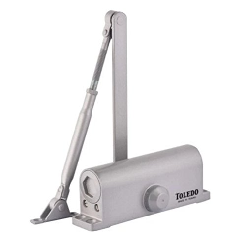 TOLEDO Door Closer TC103 Aluminum / Silver / Gray Finish Size 3 For Wood, Metal Or Commercial Glass Glass Residential / Commercial Doors (Self Closing Automatic Door Closer) - Malls Shopping Toledo