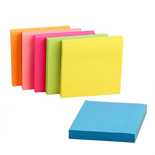 Sticky Notes 3x3, 6 Pads Bright Neon Colors Self-Stick Note Pads for School Home Office 3 x 3 inches 100 Sheets/Pad Individually Package Assorted Color
