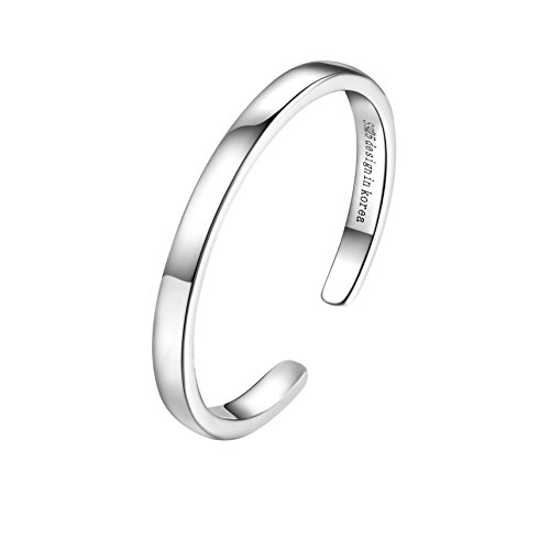SILBERTALE Sterling Silver Stackable Above Knuckle Open Finger Ring Band Thumb Ring 2mm Width US Size 5.5-7.5