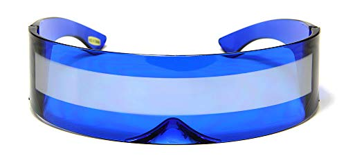 Blue Silver Shield Sunglasses Futuristic Cyclops Monoblock 100% UV400 Mirror Lens ()