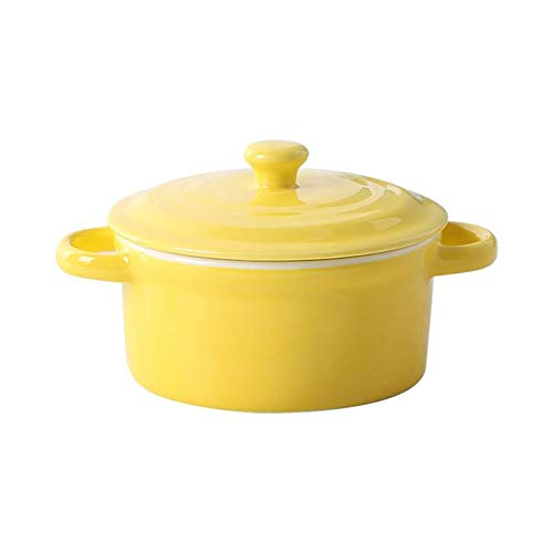 MHO Ceramic Soup Cereal Bowls with Handles and Lids, Porcelain,Yellow
