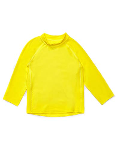 Leveret Long Sleeve Rash Guard (4 Toddler, Yellow)