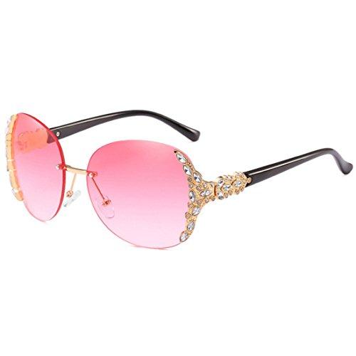 sol mujer sol sol sol con de de de de diamantes Gafas moda de Dorado Gafas Gafas marco enmarcadas de Rosa Huicai sin Gafas qwI7SFT
