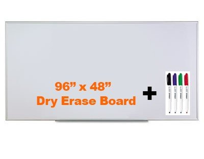 Universal Dry Erase Board / Whiteboard w/Dry erase Markers (4 colored pens per pack) Bundle 96'' x 48'' 8 Ft Wide 4 Ft Tall Satin Alum White by Universal
