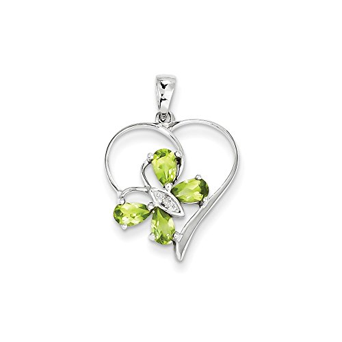 Goldia Sterling Silver Rhodium Peridot & Diamond Butterfly Heart Pendant