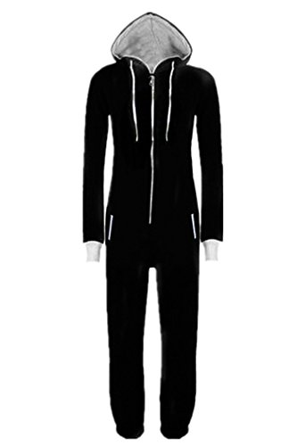 WOTOGOLD Men And Women Black Blue Pajamas Sportswear Hooded Unisex Jumpsuit Black Black Medium