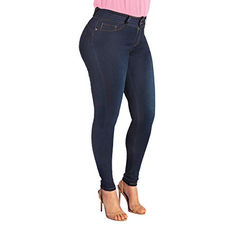 My Fit Jeans - Size 14-20 Dark Wash: Womens Stretch Denim Jeans with Pockets and The Comfort of Leggings, Petite Through Plus Size.