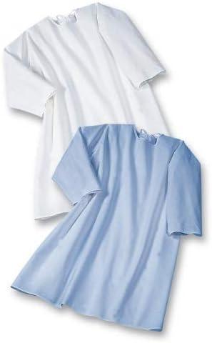 Pflegehemd zum Binden im Nacken - Langarm - 4-061-005 - blau - Gr. 40-42
