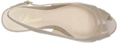 Delman Womens Capri Wedge Sandal Nude Patent F0VPJr