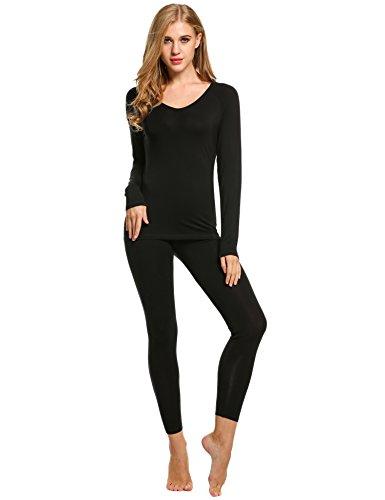 Ekouaer Women Thermal Underwear Set Solid V-Neck Long Sleeve Top and Long Pants Bottom Sleepwear