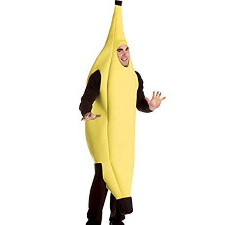 Alvivi Adult's Funny Banana Shape Costume Unisex Halloween Cosplay Deluxe Humor Foam Clothes Yellow Medium