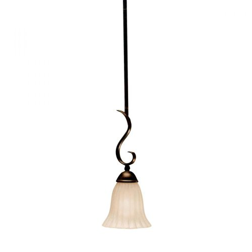 - One Light Tannery Bronze Down Mini Pendant 3427TZ