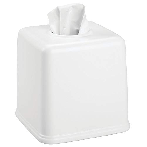 - mDesign Plastic Square Facial Tissue Box Cover Holder for Bathroom Vanity Countertops, Bedroom Dressers, Night Stands, Desks and Tables - White