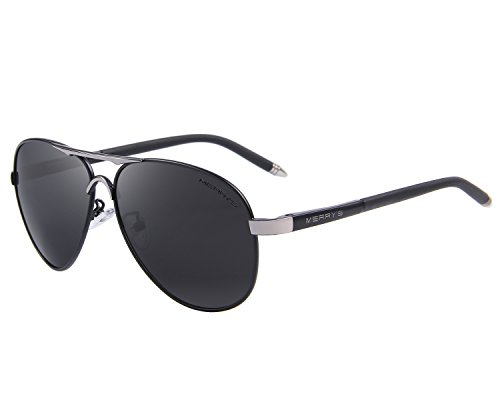 MERRY'S Men's Polarized Driving Sunglasses For Men Unbreakable Frame UV400 S8513 (Black, - High Glasses End Brand