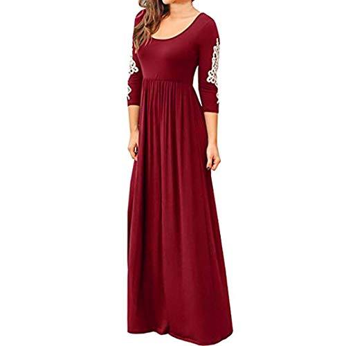 DEATU Ladies Dress, Teen Women Solid Applique Three Quarter Sleeve High Waist Boho Long Maxi Dresses(Red,XL) -