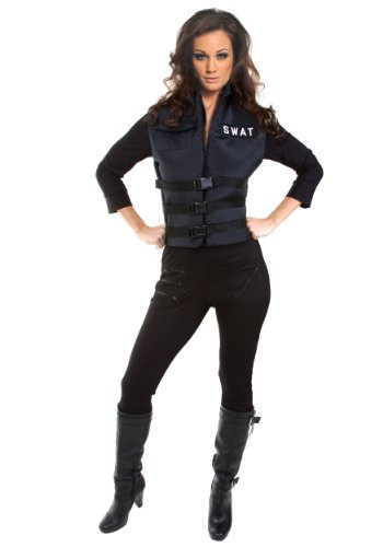 [Underwraps Women's Lady Swat, Black, Medium] (Sexy Swat Team Costumes)