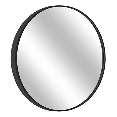 "Round Mirror, 31.5"" Wall Mirror, Wall-Mounted Mirror for Bedroom, Bathroom, Living Room & Entryway, 1.4"" Metal Frame Vanity Mirror, Black"