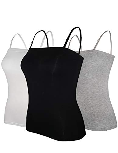 Stretch Knit Sleeveless - Tank Tops for Women Removable Strap Camisole with Built in Padded Bra Vest Cami Sleeveless Top 3 Pack M (Black/White/Grey)