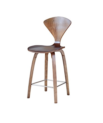 ModHaus Mid Century Modern Norman Cherner Style Molded Bent Plywood Counter Stool - Walnut Finish