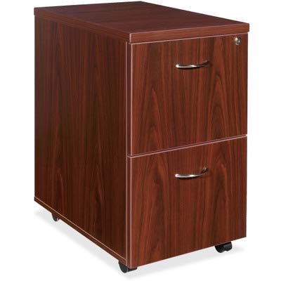 Lorell Mobile Pedestal, File/File, 16 by 22 by 28-1/4-Inch, Mahogany