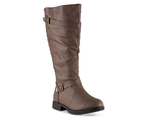 Twisted Women's Amira Wide Width/Wide Calf Faux Leather Knee-High Quilted Boot with Multi Buckle Straps - Mocha, Size 7